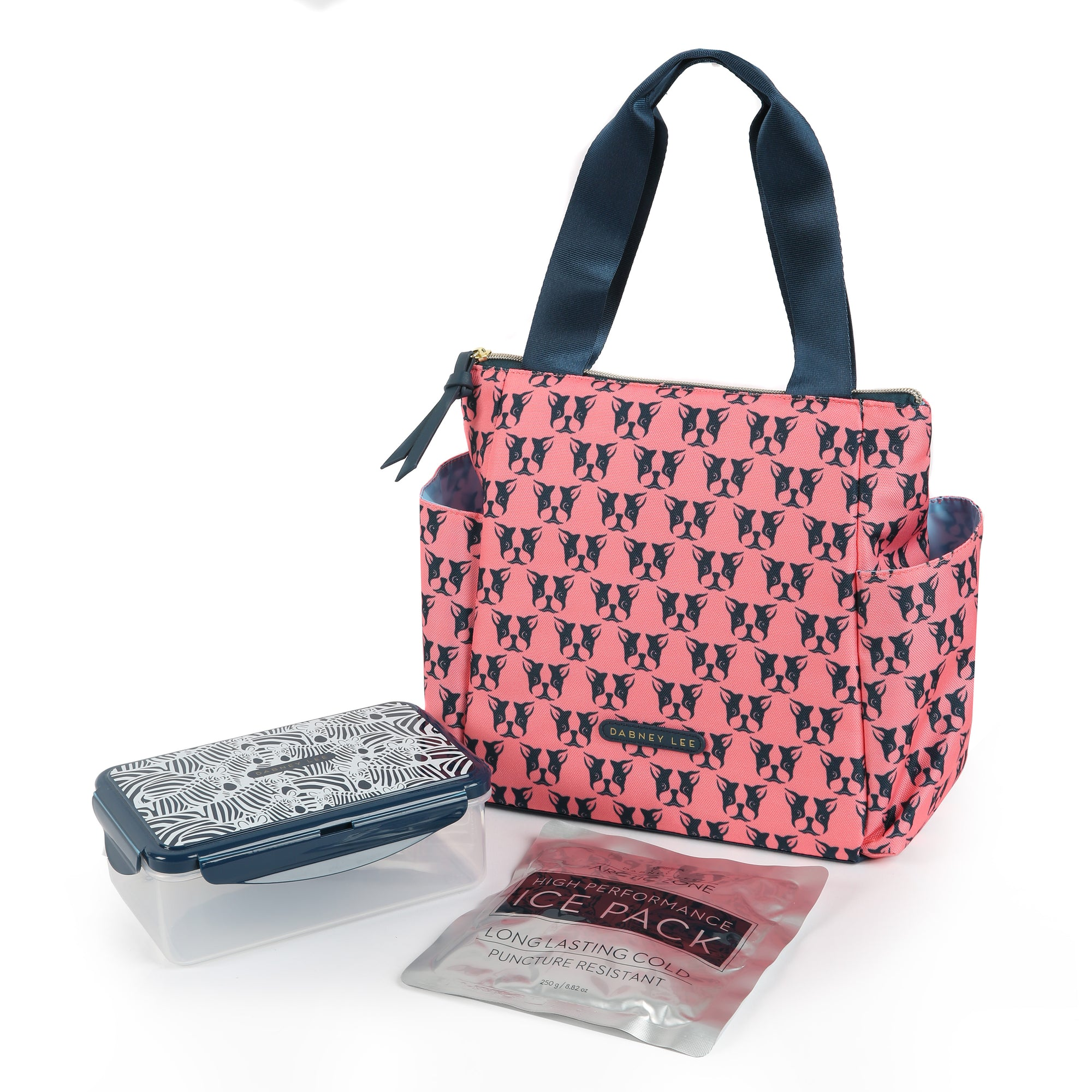 Arctic Zone® Dabney Lee Karina Tote - Polly Coral - Front, closed with container and ice pack