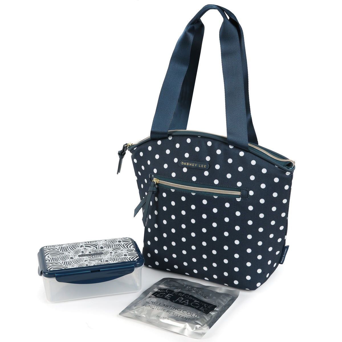Arctic Zone® Dabney Lee Soft Tote - Dottie Navy - Front, closed with container and ice pack