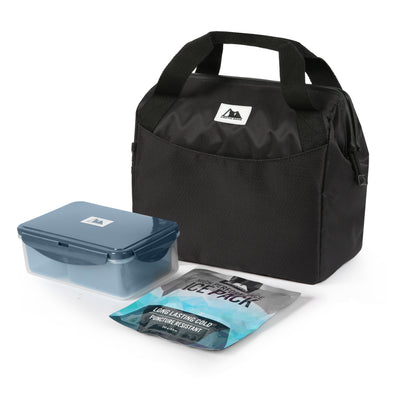 Arctic Zone® High Performance Meal Prep Lunch Bag M.D. - Black - Closed, with containers and ice pack
