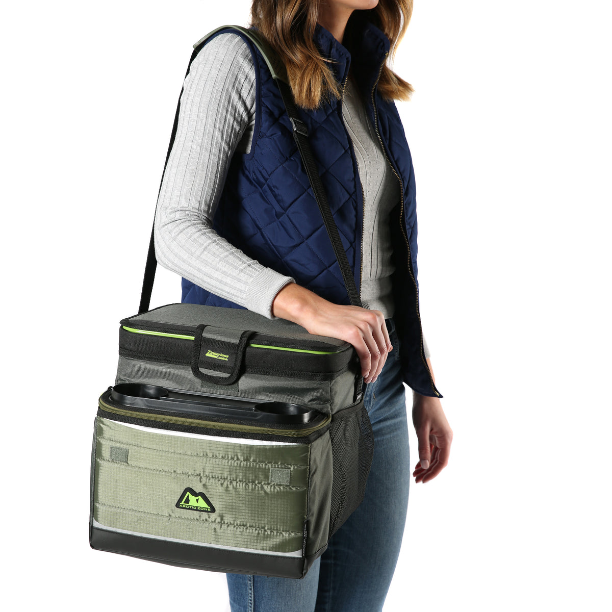 Arctic Zone® 30 (24+6) Can Ultimate Zipperless™ HardBody® Cooler - Green - Model carry