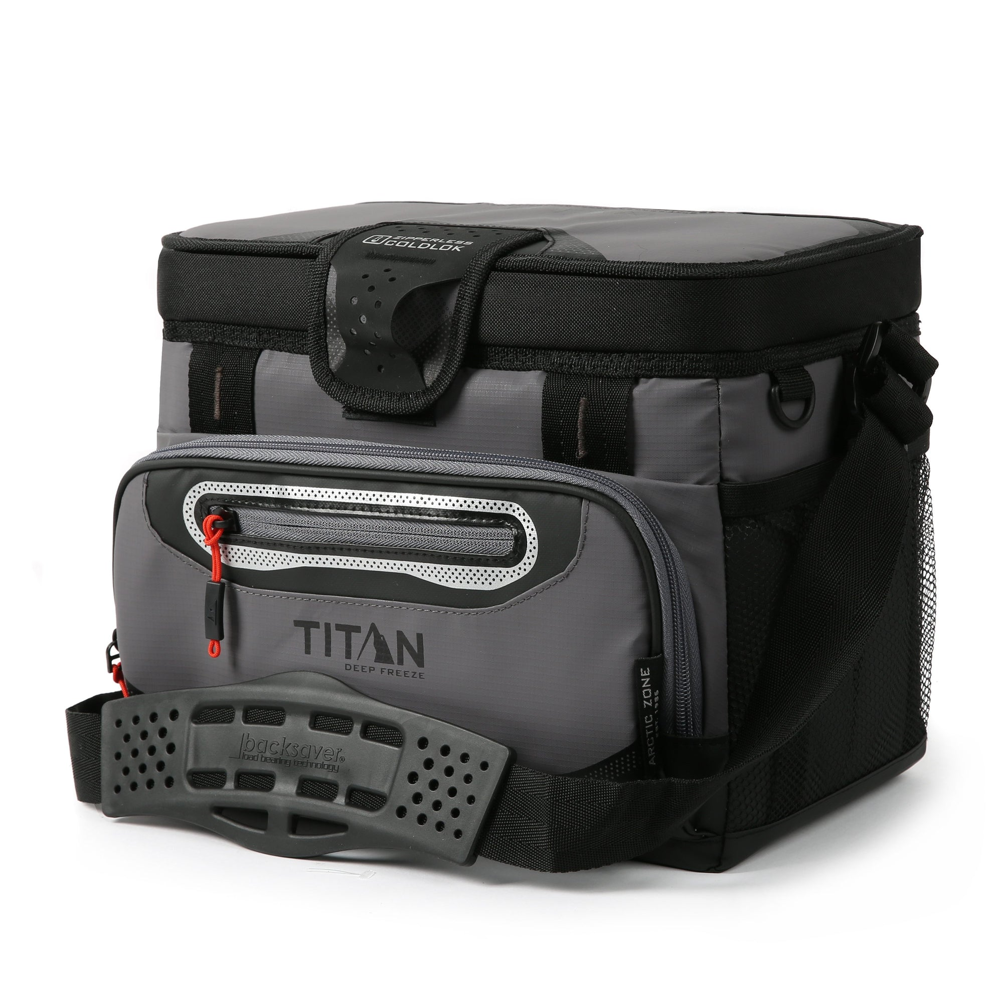 Titan Deep Freeze® 12 Can Zipperless™ HardBody® Cooler - Sharkskin Gray - Front, closed