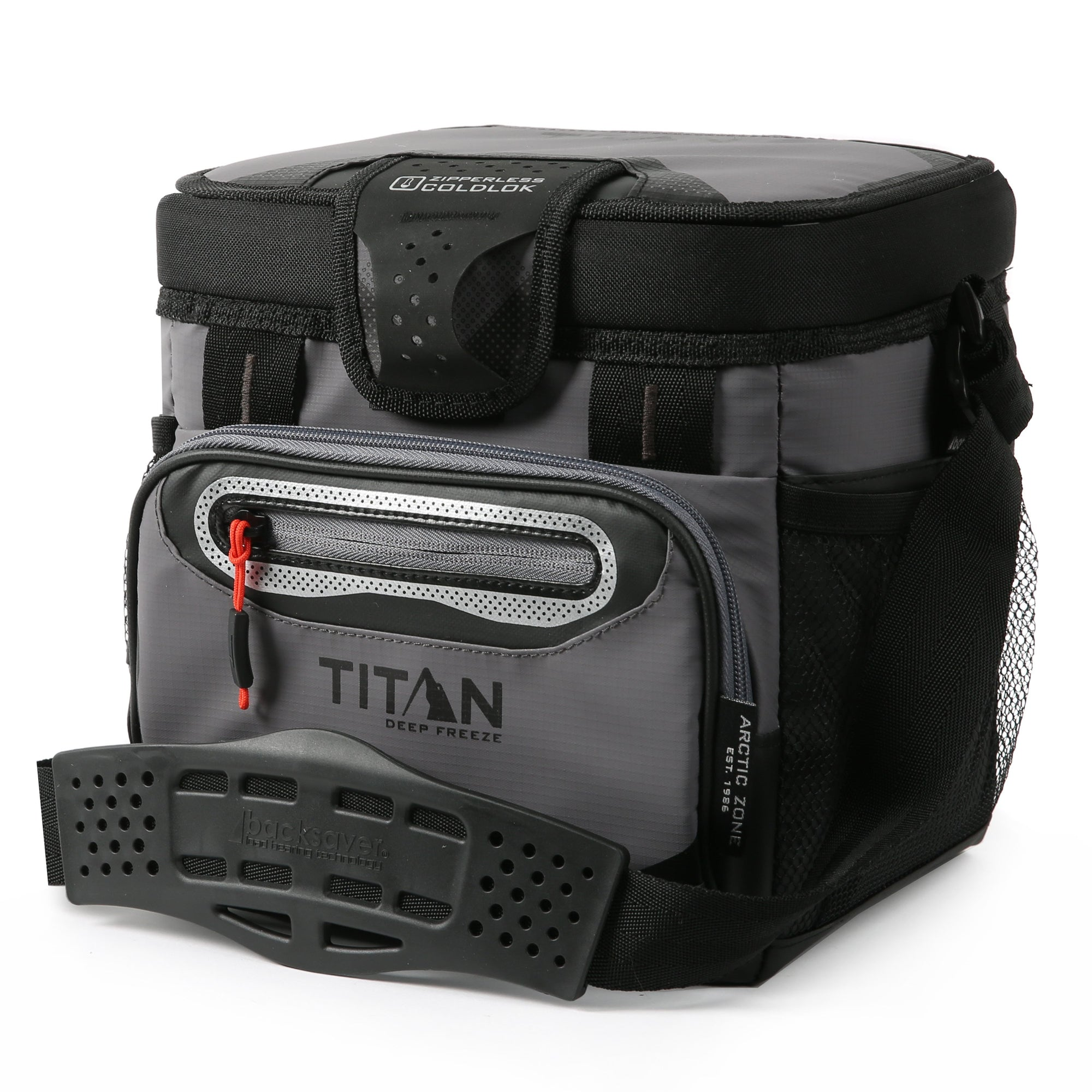 Titan Deep Freeze® 9 Can Zipperless™ HardBody® Cooler - Sharkskin Gray - Front, closed