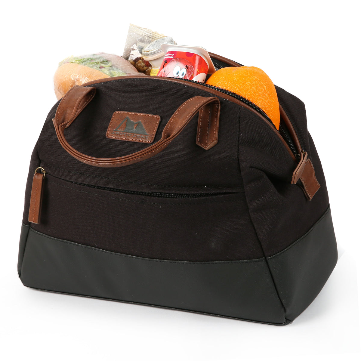 Arctic Zone® Canvas Lunch Tote - Black - Open, propped collapsed