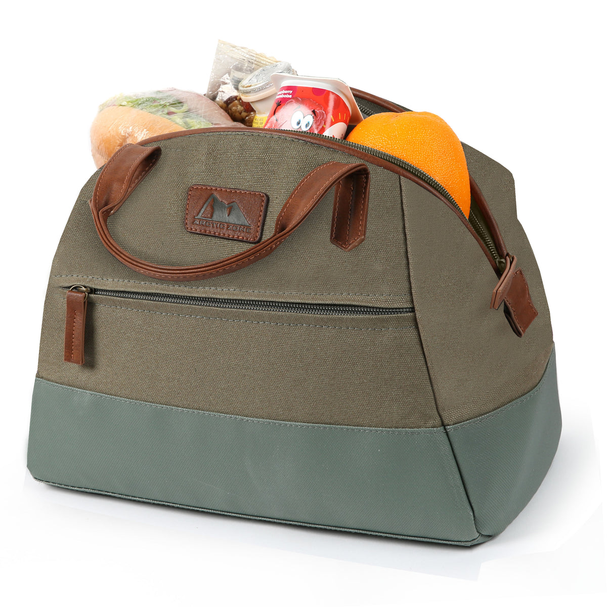 Arctic Zone® Canvas Lunch Tote - Moss - Open, propped collapsed