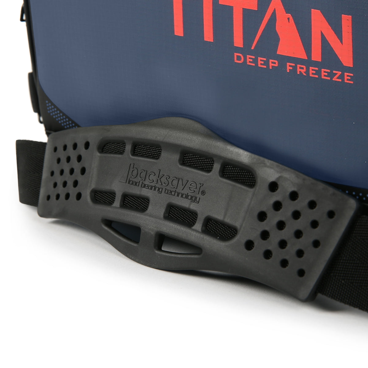 48 Can Titan Deep Freeze® Zipperless™ Cooler  - Navy - Backsaver anti-slip shoulder pad.