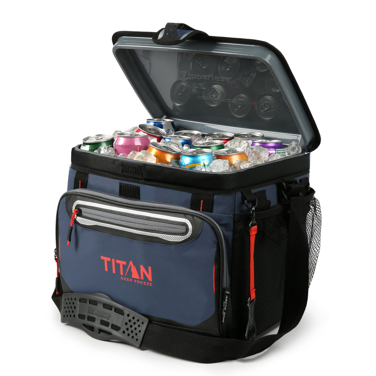 Titan Deep Freeze® 30 Can Zipperless™ Cooler - Navy - Open propped