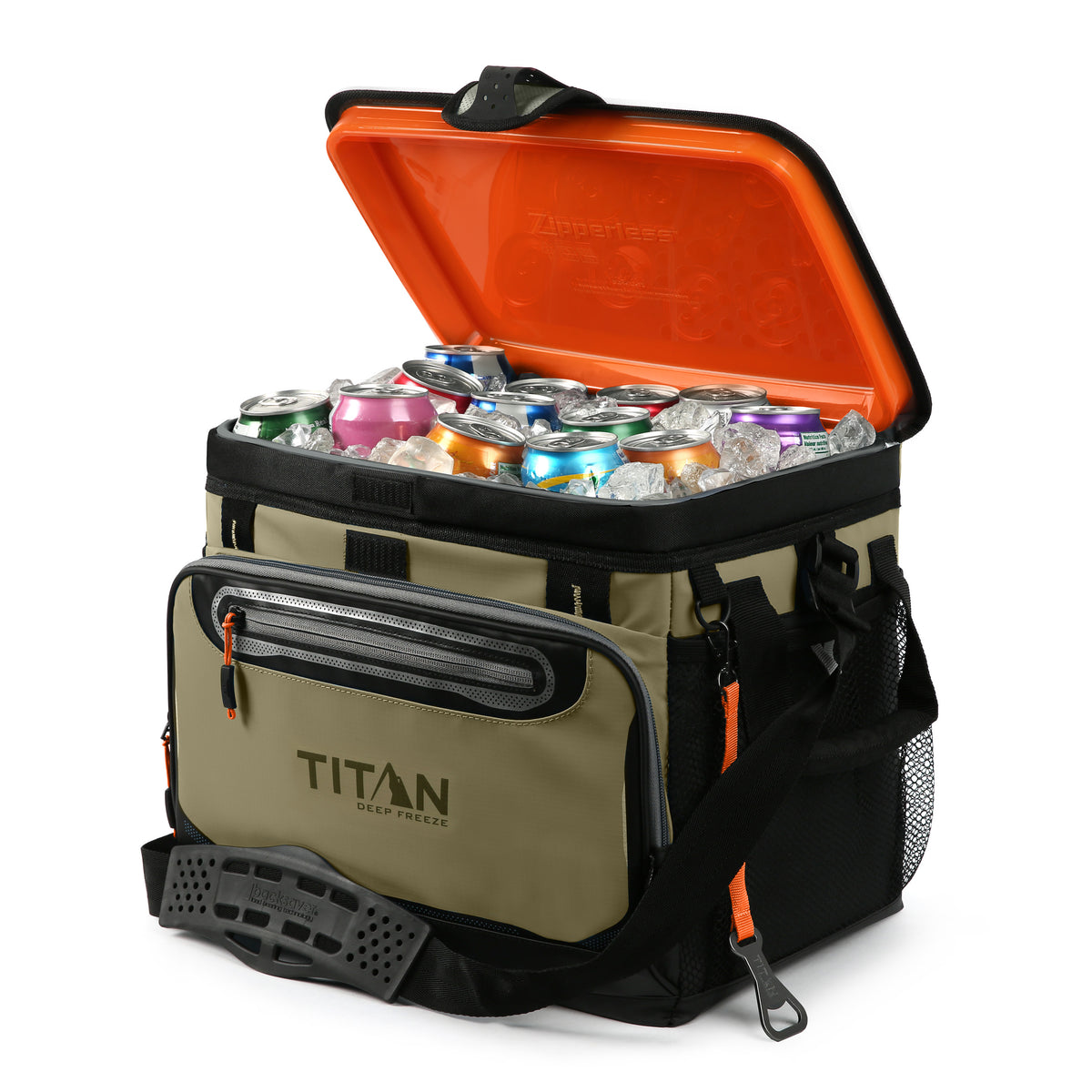 Titan Deep Freeze® 30 Can Zipperless™ Cooler - Moss - Open propped