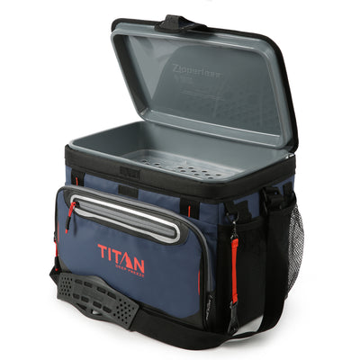 Titan Deep Freeze® 30 Can Zipperless™ Cooler - Navy - Open empty
