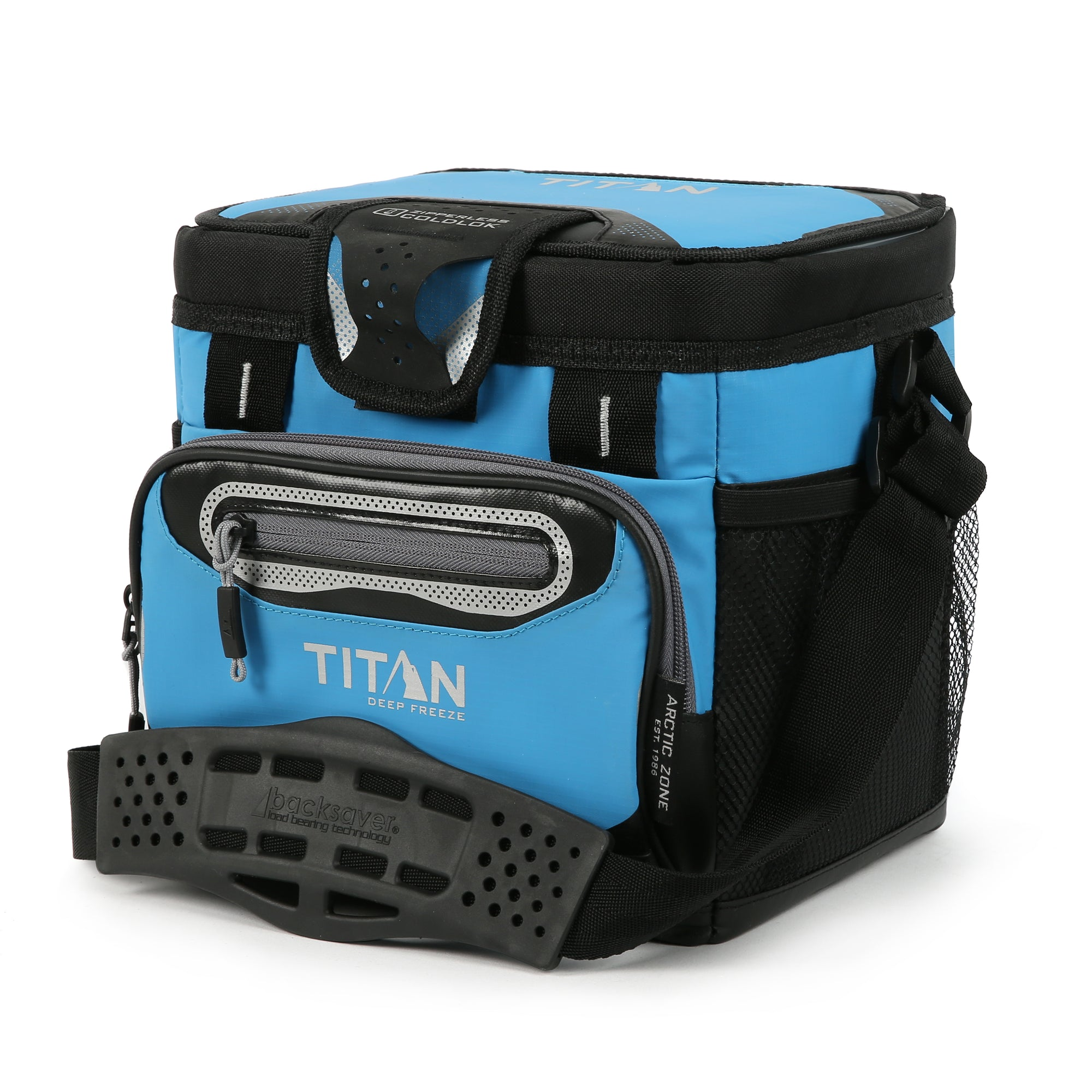 Titan Deep Freeze® 9 Can Zipperless™ HardBody® Cooler - Blue - Front, closed