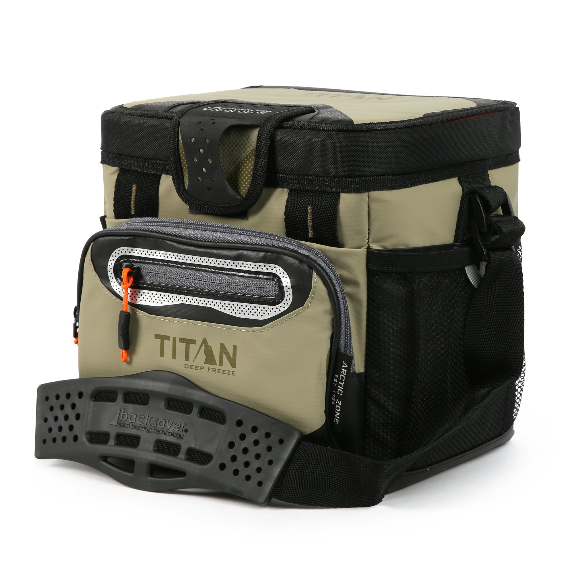 Titan Deep Freeze® 9 Can Zipperless™ HardBody® Cooler - Moss - Front, closed