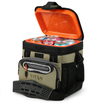 Titan Deep Freeze® 9 Can Zipperless™ HardBody® Cooler - Moss - Open, propped