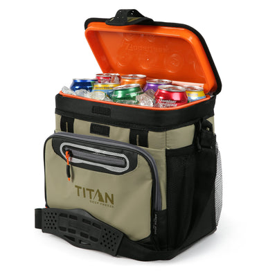 Titan Deep Freeze® 16 Can Zipperless™ HardBody® Cooler - Moss - Open propped