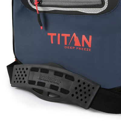 Titan Deep Freeze® 16 Can Zipperless™ HardBody® Cooler - Navy - Backsaver® shoulder strap with non-slip shoulder pad