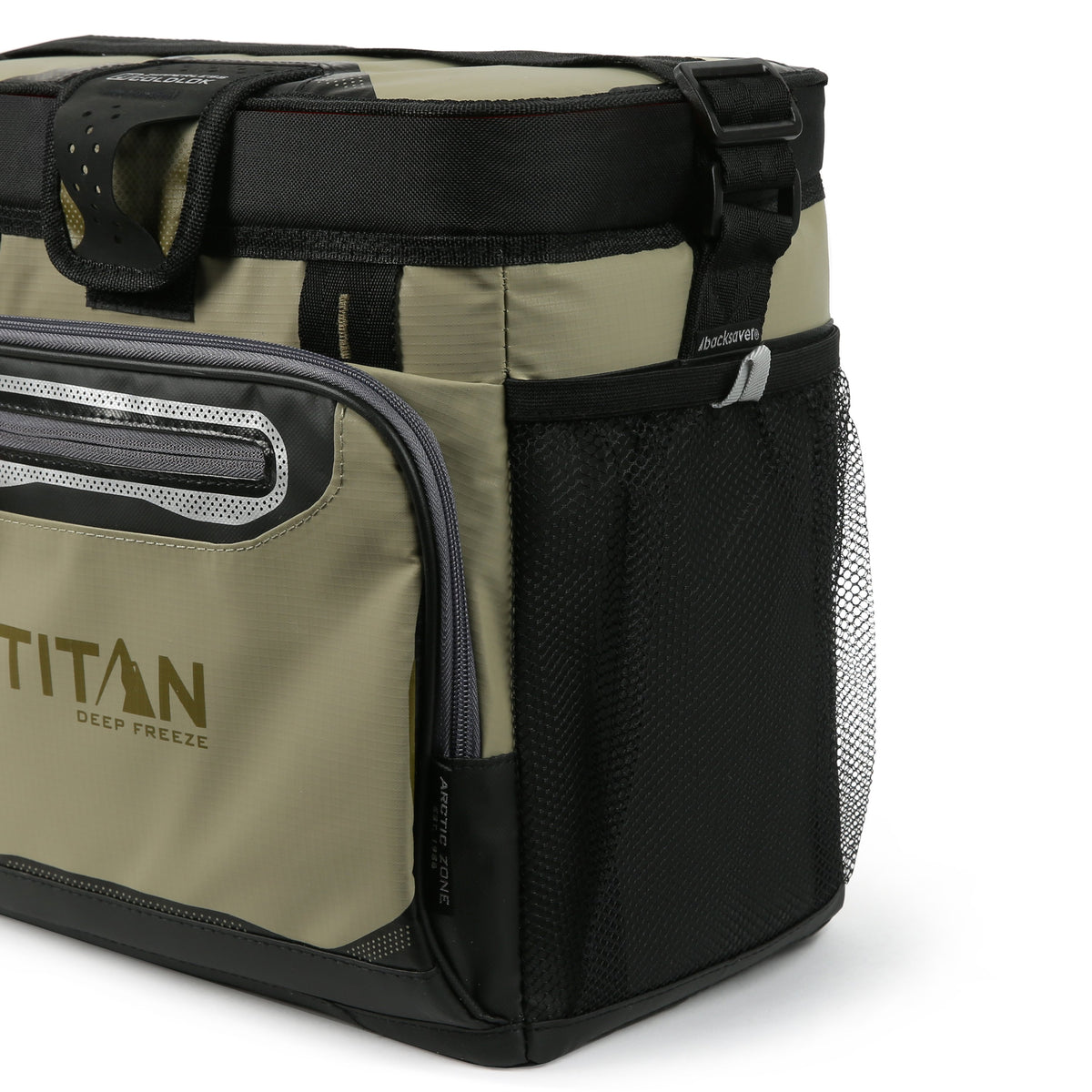 Titan Deep Freeze® 16 Can Zipperless™ HardBody® Cooler - Moss - Side mesh pockets