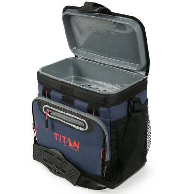 Titan Deep Freeze® 16 Can Zipperless™ HardBody® Cooler - Navy - Open empty