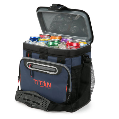 Titan Deep Freeze® 16 Can Zipperless™ HardBody® Cooler - Navy - Open propped