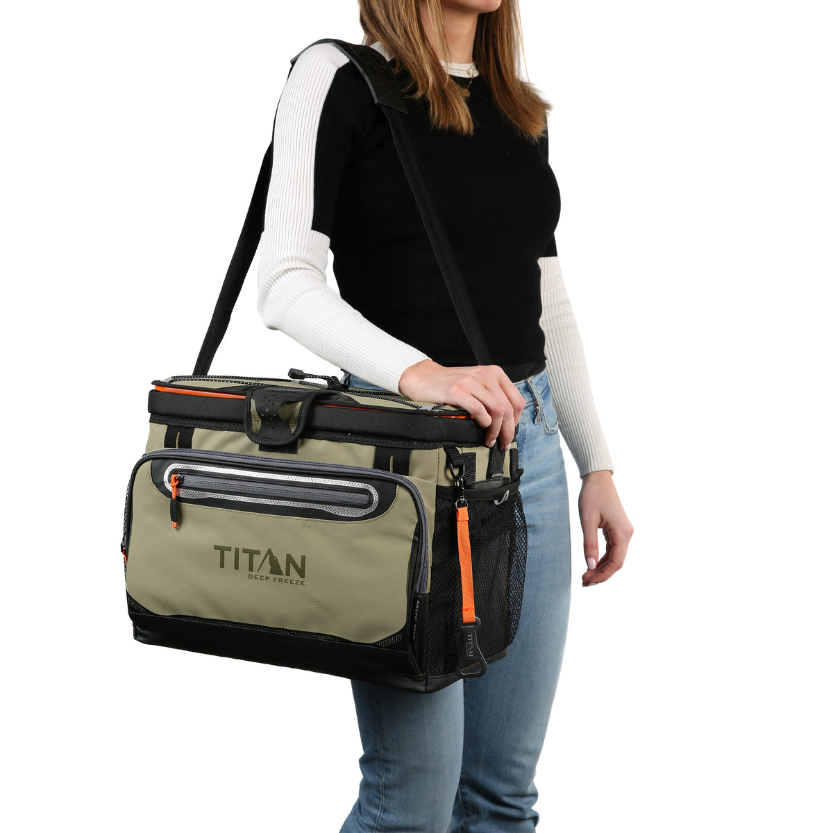 Titan Deep Freeze® 30 Can Zipperless™ Cooler - Moss - Model carrying cooler
