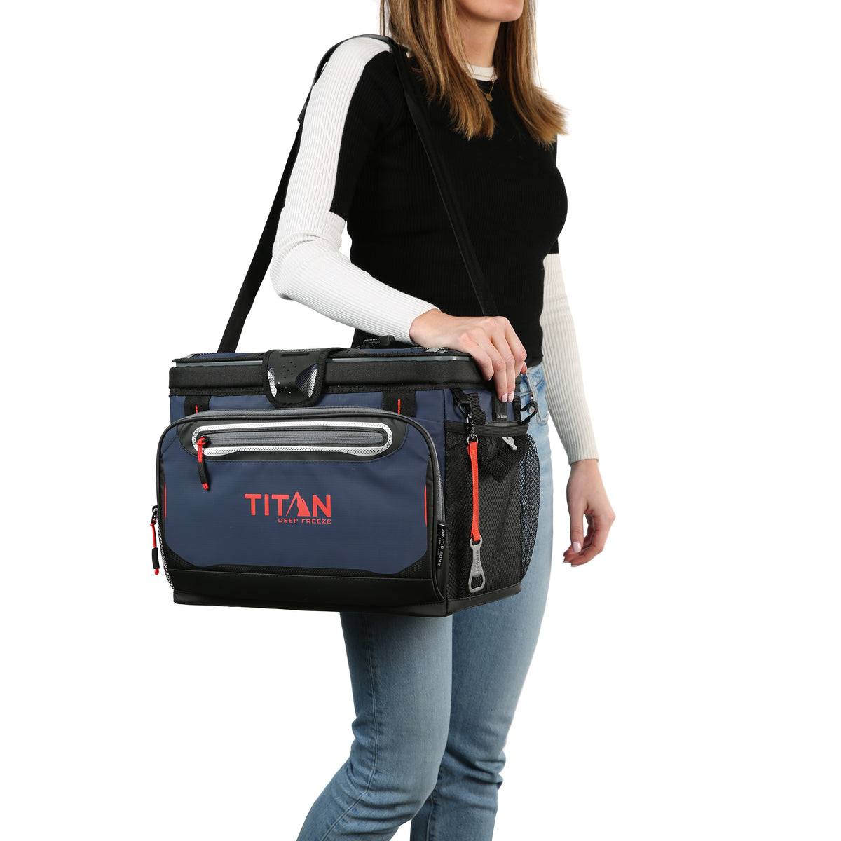 Titan Deep Freeze® 30 Can Zipperless™ Cooler - Navy - Model carrying cooler
