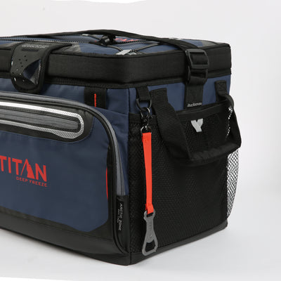 Titan Deep Freeze® 30 Can Zipperless™ Cooler - Navy - Mesh side pockets
