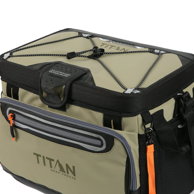 Titan Deep Freeze® 30 Can Zipperless™ Cooler - Moss - Top Bungee cords