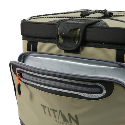 Titan Deep Freeze® 30 Can Zipperless™ Cooler - Moss - Insulated front pocket