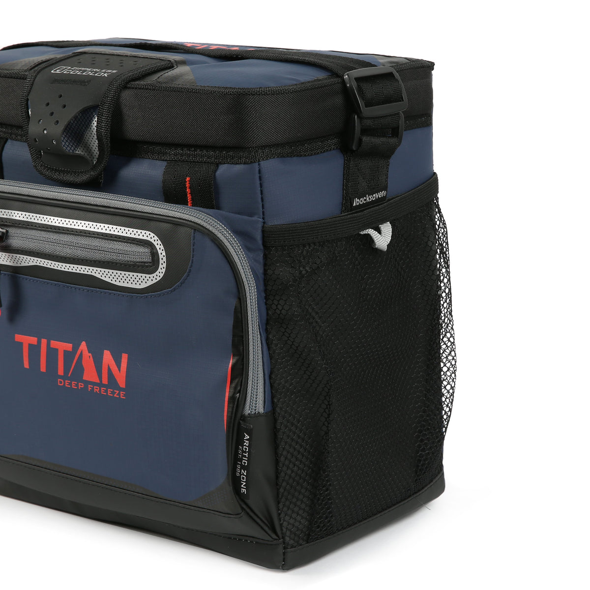 Titan Deep Freeze® 16 Can Zipperless™ HardBody® Cooler - Navy - Side mesh pockets