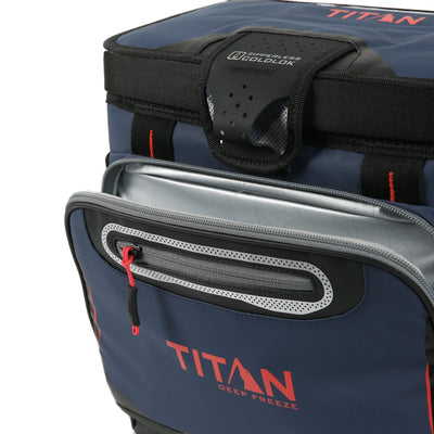 Titan Deep Freeze® 16 Can Zipperless™ HardBody® Cooler - Navy - Insulated front pocket