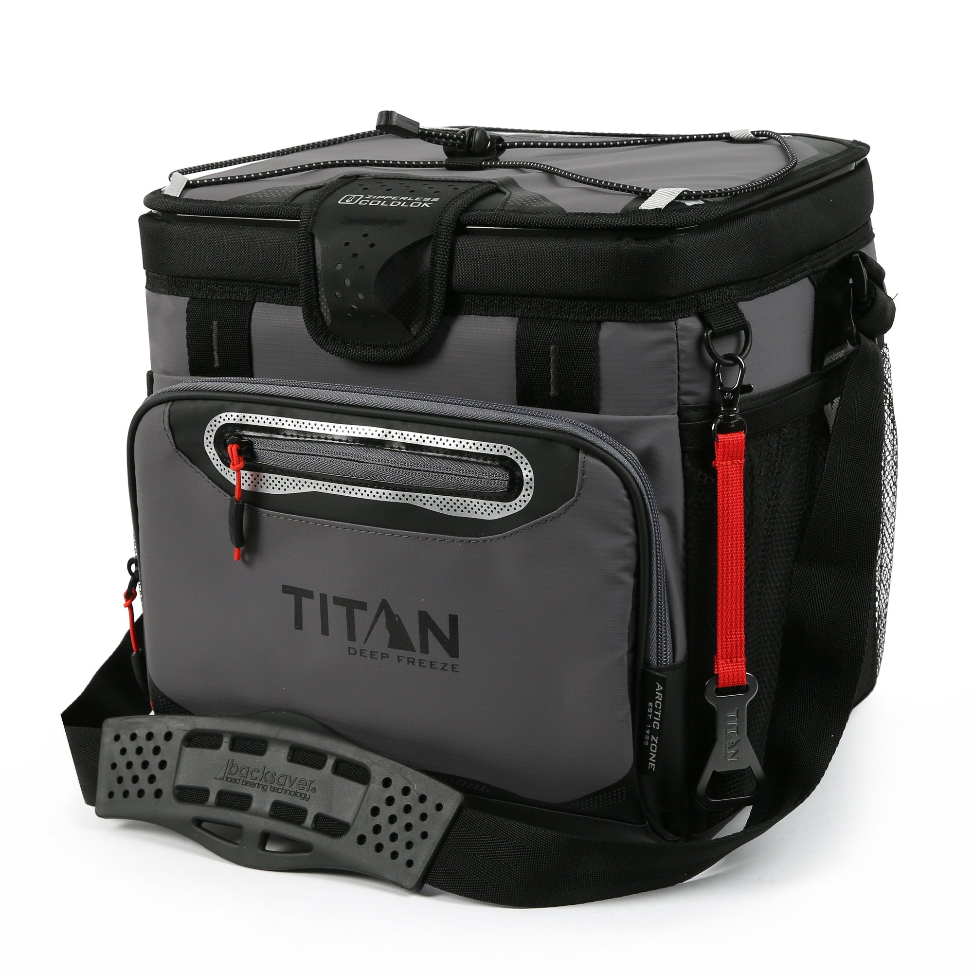 Titan Deep Freeze® 24 Can Zipperless™ HardBody® Cooler - Sharkskin Gray - Front, closed