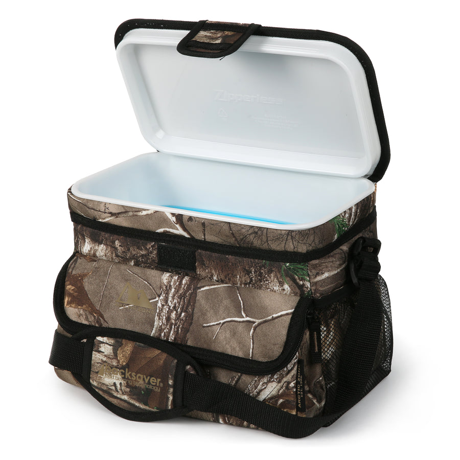 Arctic Zone - 16(12+4) Can Realtree Zipperless Cooler - Front Open