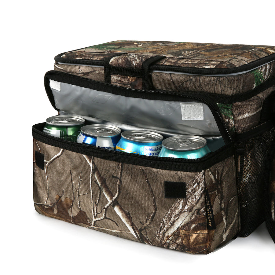 Arctic Zone - 16(12+4) Can Realtree Zipperless Cooler - Front pocket expanded with cans inside