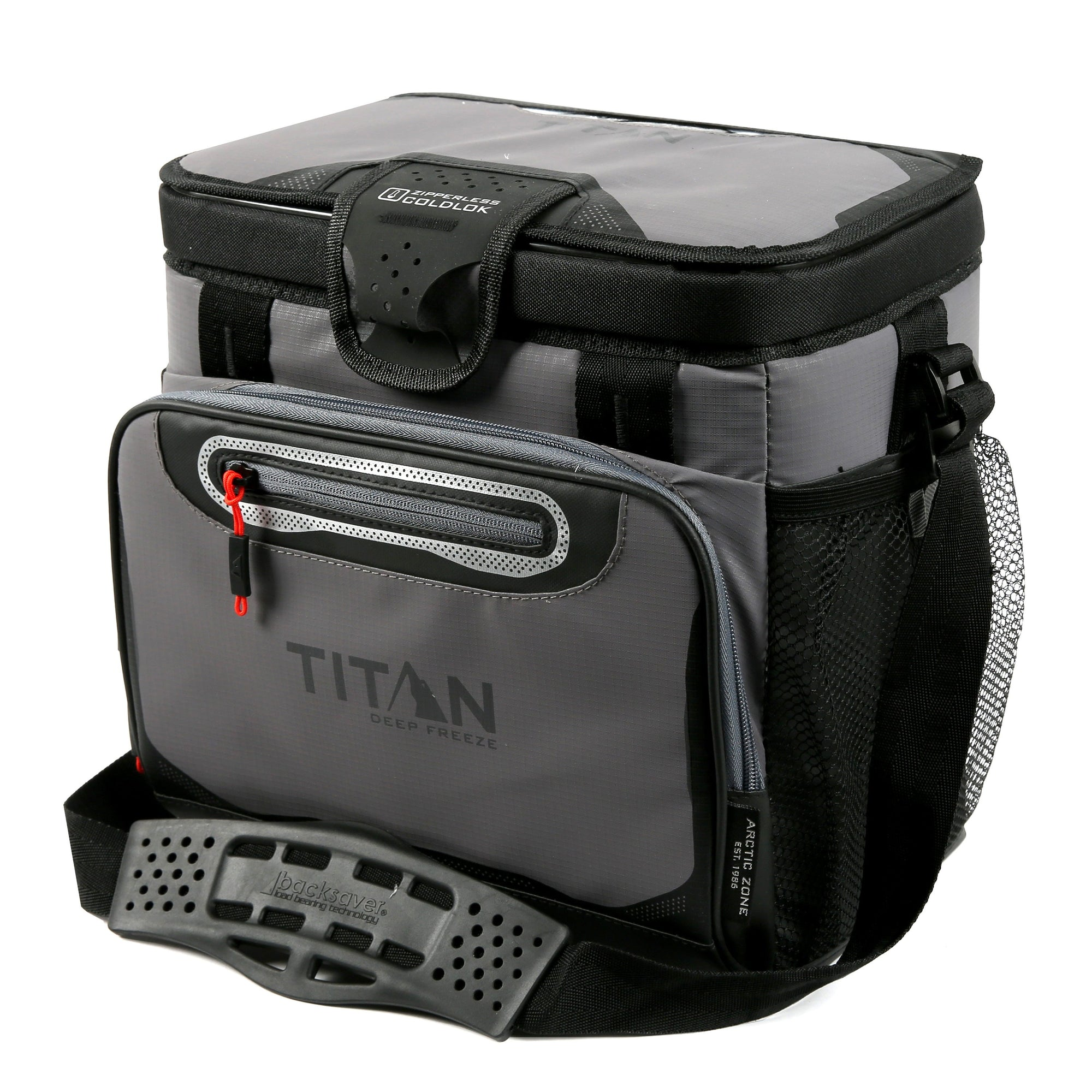Titan Deep Freeze® 16 Can Zipperless™ HardBody® Cooler - Sharkskin Gray - Front, closed