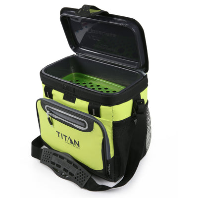 Titan Deep Freeze® 16 Can Zipperless™ HardBody® Cooler - Citrus - Open, empty