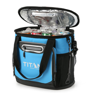 Titan Deep Freeze® 24 Can Bucket Tote - Blue - Open, propped