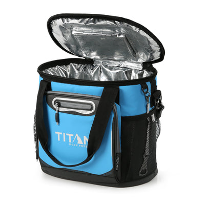 Titan Deep Freeze® 24 Can Bucket Tote - Blue - Open, empty