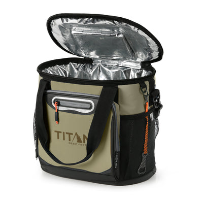 Titan Deep Freeze® 24 Can Bucket Tote - Tan - Open, empty