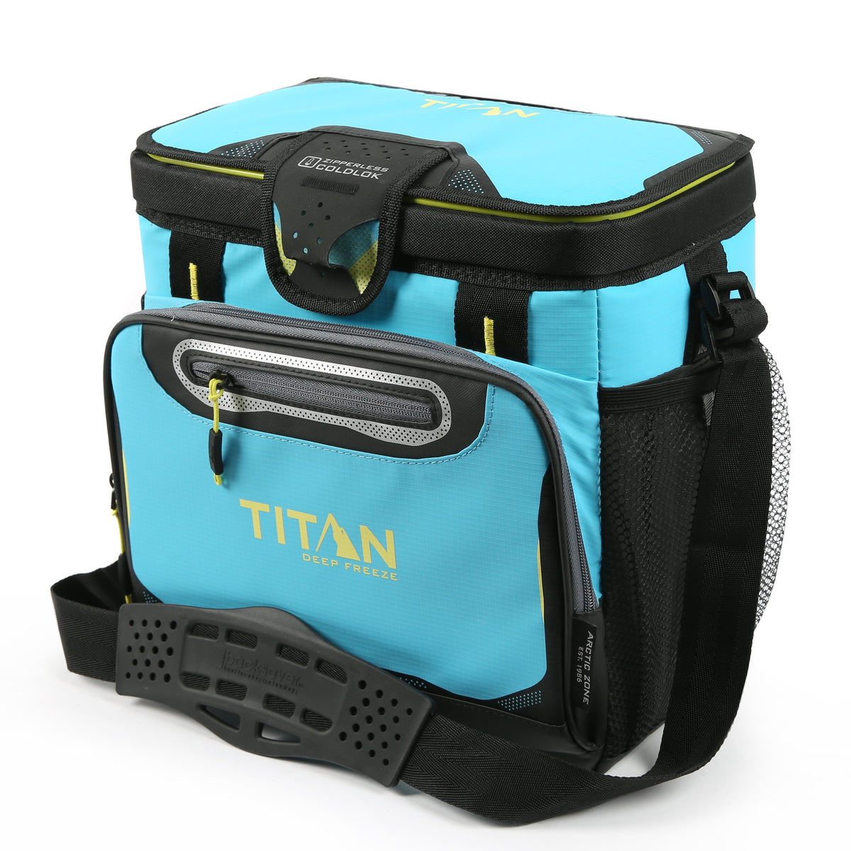 Titan Deep Freeze® 16 Can Zipperless™ HardBody® Cooler - Blue Lagoon - Front, closed