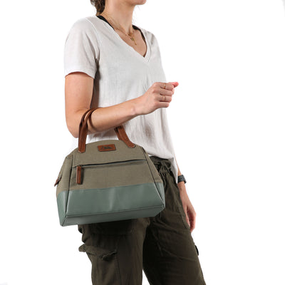 Arctic Zone® Canvas Lunch Tote - Moss - Model carry