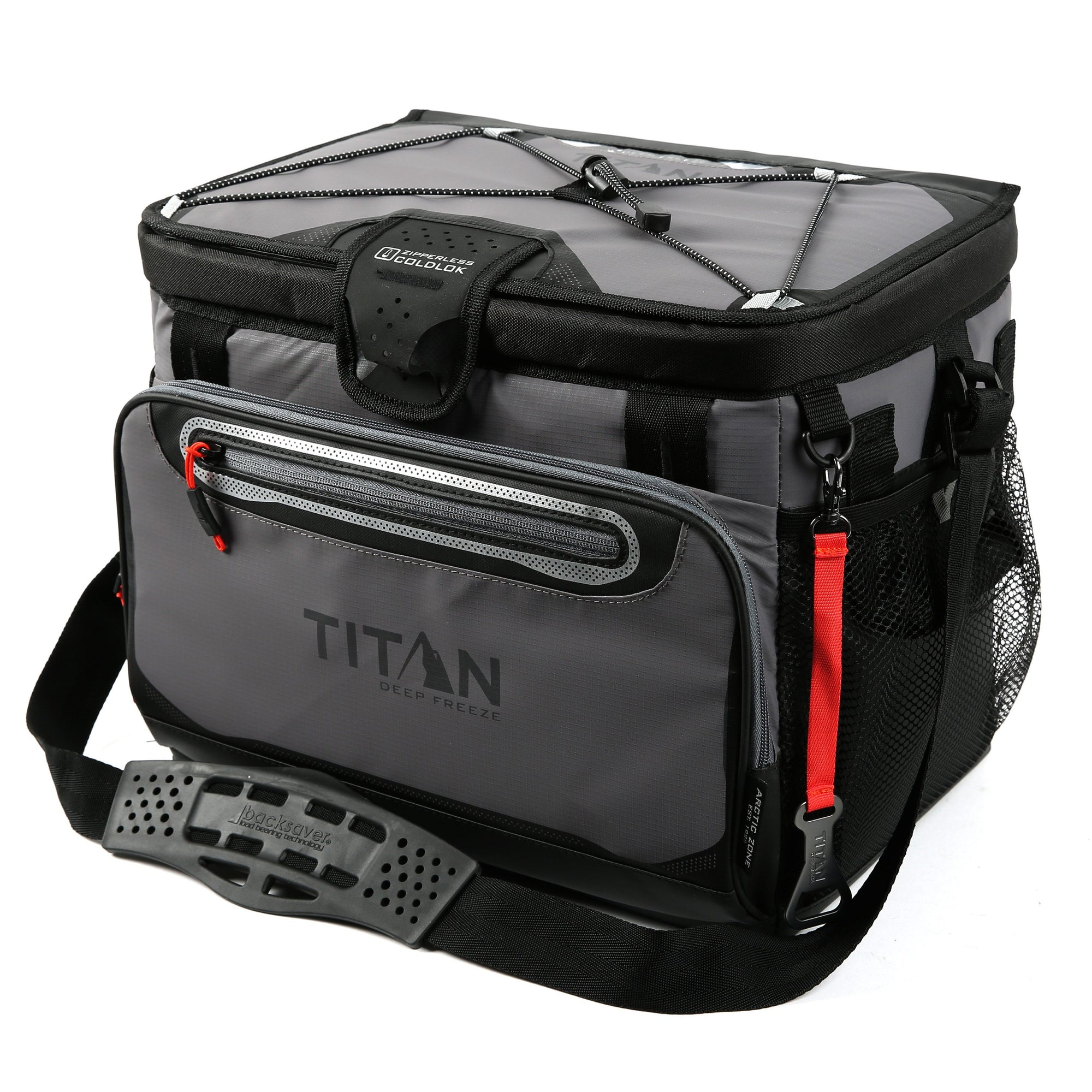 Titan Deep Freeze® 30 Can Zipperless™ HardBody® Cooler - Sharkskin Gray - Front, closed