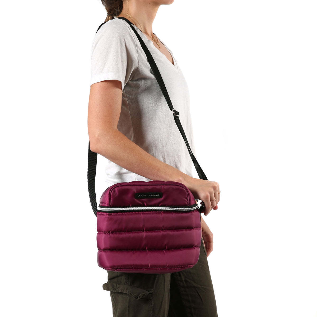 Arctic Zone® Crossbody Quilted Lunch Pack - Red Violet - Model carry