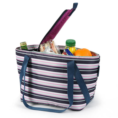 Arctic Zone® Commuter Tote - Mixed Stripes - Open, propped