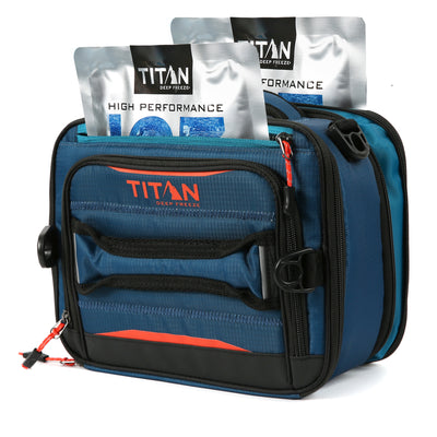 Titan Deep Freeze® High Performance Expandable Horizontal Lunch Pack - Blue - Front with ice packs