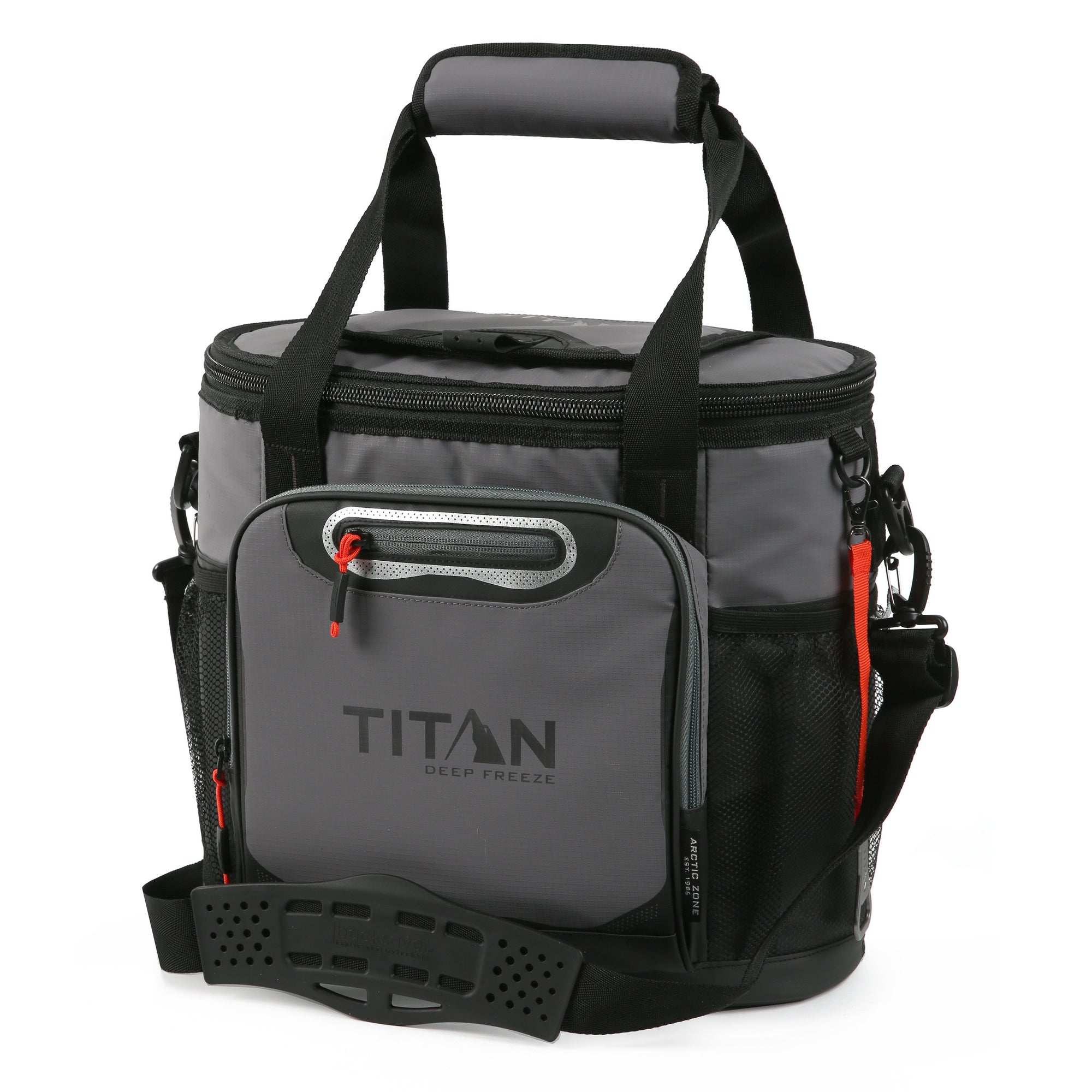 Titan Deep Freeze 24 Can Bucket Tote - Sharkskin Gray - Front, closed