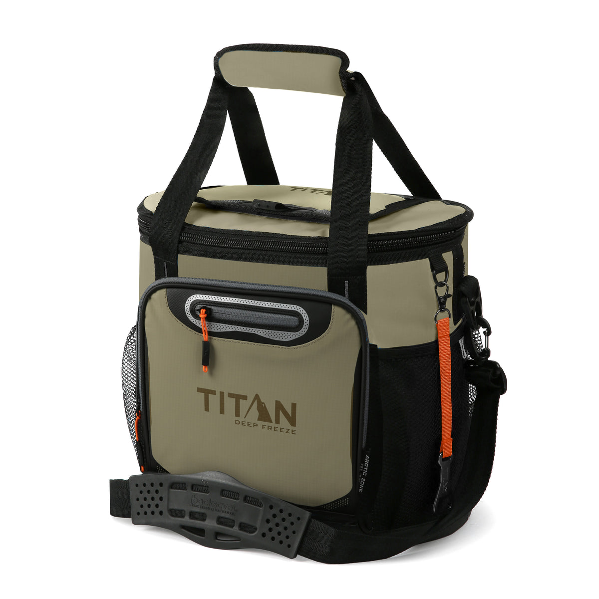 Titan Deep Freeze® 24 Can Bucket Tote - Tan - Front, closed