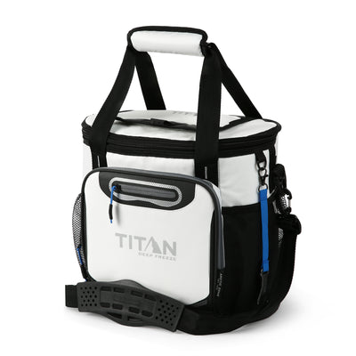 Titan Deep Freeze® 24 Can Bucket Tote - White - Front, closed