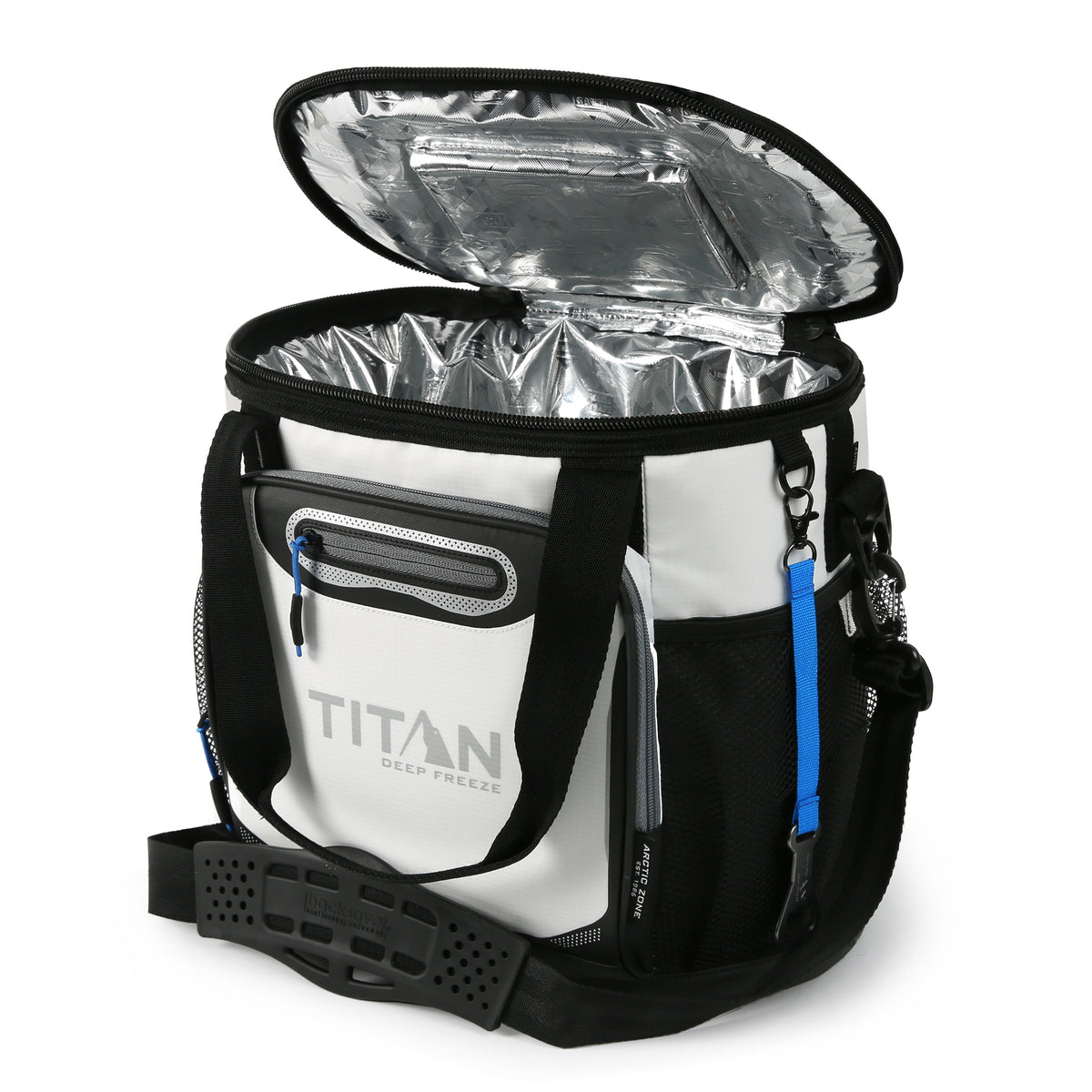 Titan Deep Freeze® 24 Can Bucket Tote - White - Open, empty