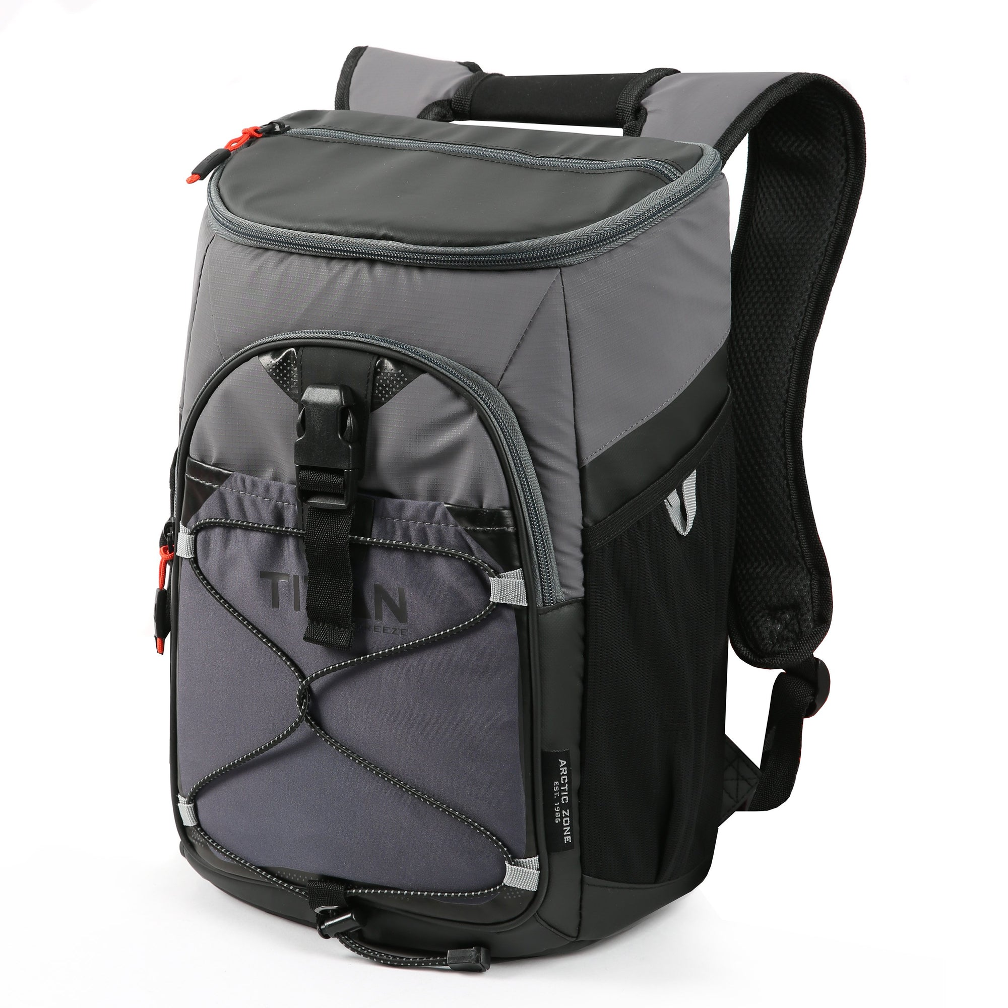 Titan Deep Freeze® 24 Can Backpack Cooler - Sharkskin Gray - Front, closed