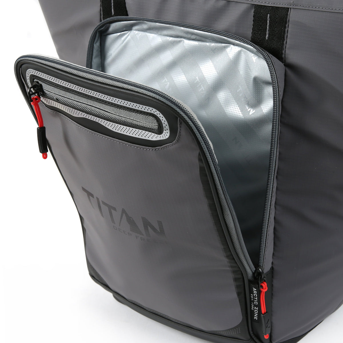 Titan Deep Freeze® 20 Can Rolltop Backpack - Sharkskin Gray - Insulated front pocket