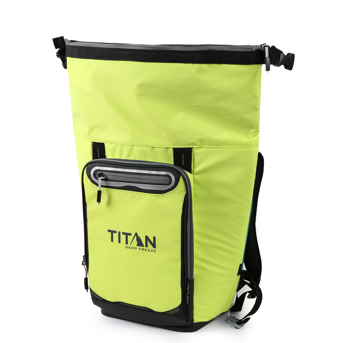 Titan Deep Freeze® 20 Can Rolltop Backpack - Citrus - Open, empty