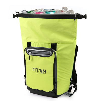 Titan Deep Freeze® 20 Can Rolltop Backpack - Citrus - Unrolled, propped
