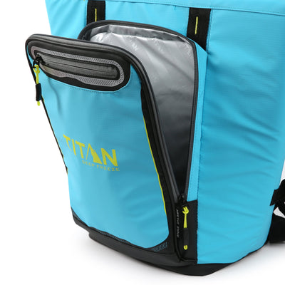 Titan Deep Freeze® 20 Can Rolltop Backpack - Blue Lagoon - Insulated front pocket